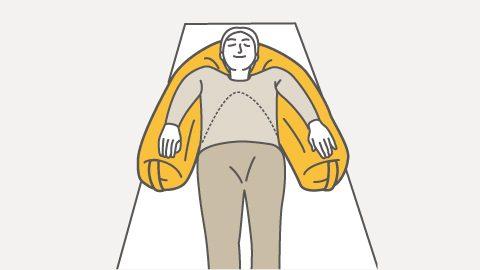 スネーク 仰臥位・背上げ時の上肢サポート